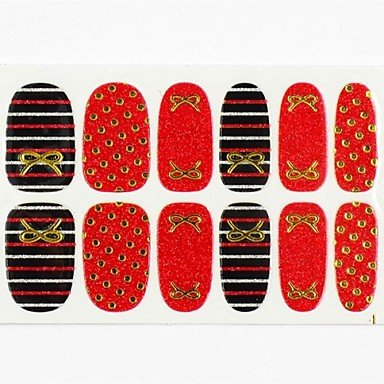 Kaifina 12PCS Full Size Cover False Nail Art Stickers Decals Tips Wraps Red Base Gold Dot for Nail Art Polish Decorations