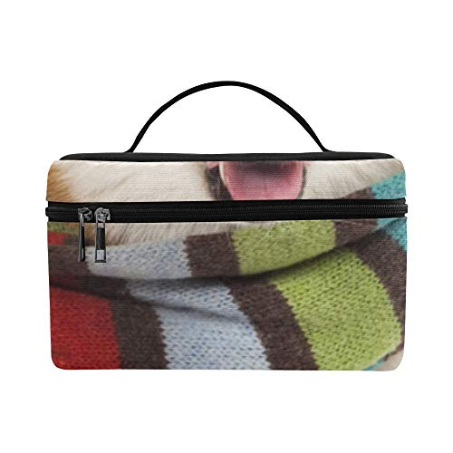 Cosmetic Train Cases Roomy Cosmetic Bags Fashionable Cool Scarf Dog Large Handbags Travel Bento Lunch Box Outdoor For Girls Makeup Pouch