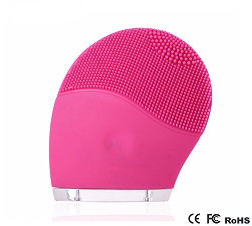PUJUN Electric Facial Cleansing Brush Massager and Exfoliator - Waterproof Rechargeable Silicone Sonic Face Cleanser For Skin Care Pink
