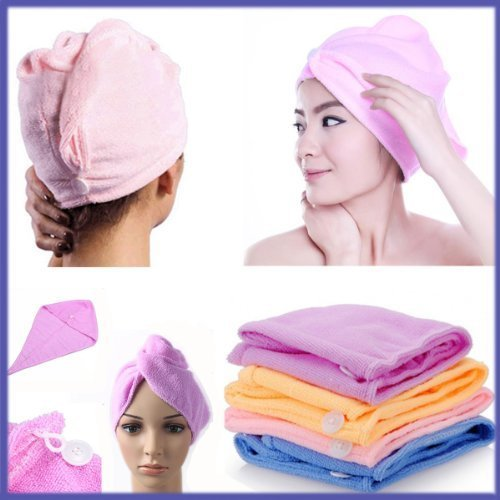 2Pcs Turbie Towel Hair Wrap Head Turban Twist Drying Cap Hat Loop Button Lady by Grids