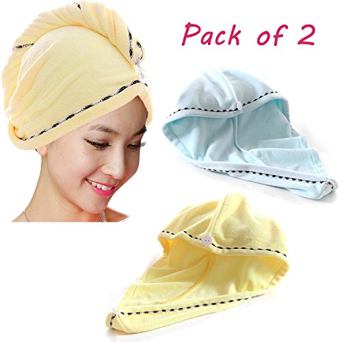 Nadula Hair Towel Wrap Turban Fast Dry Microfiber Twist for Wet Hair - Gift Idea Pack of 2 Yellow&Blue