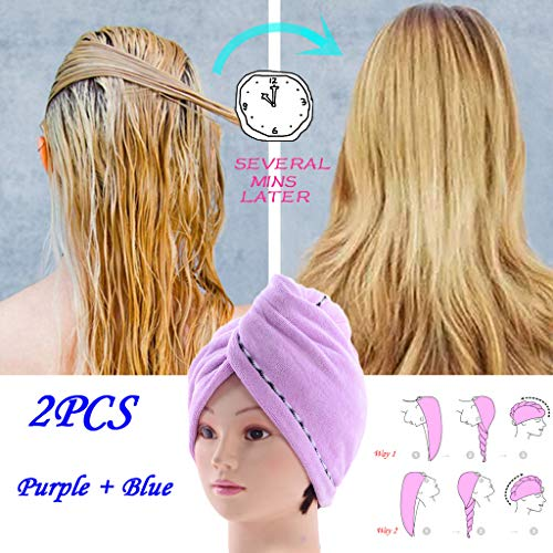 Hair Towel Wrap Turban Microfiber Drying Bath Shower Head Towel with Buttons Quick Magic Dryer Dry Hair Hat Wrapped Bath Cap2 or 4 Pack