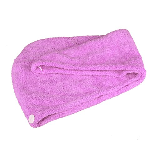 Zelta Twist Dry Hair Towel Super Water Absorbent Coral Fleece Microfiber 10 x 26 Quick Dry Hair Turban Hair Wrap Hair Drying Cap with Button Closure Purple