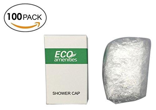 ECO Amenities Disposable Clear Shower Caps Individually Wrapped Paper Box Full Size Adult 100 Caps per Case