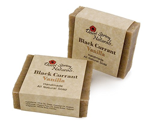 All Natural Vegan Black Currant Vanilla Handmade Bar Soap by Desert Spring Naturals Made With Olive Oil Coconut Oil 2 Bar Set