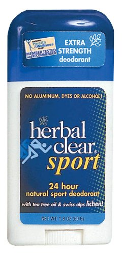 Herbal Clear Sport 24 Hour Natural Sport Deodorant with Tea Tree Oil and Swiss Alps Lichen 18 Ounce Pack of 3