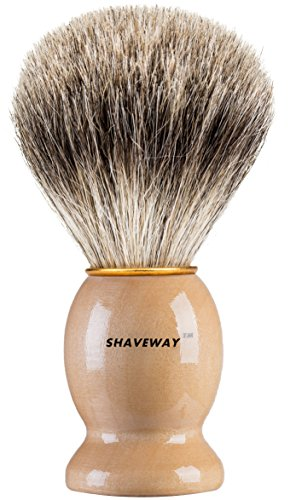 Shaveway 100 Original Pure Badger Shaving Brush Engineered for the Best Shave of Your LifeFor all methodsSafety RazorDouble Edge RazorStaight Razor or Shaving Razor Its Best Badger Brush