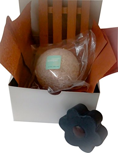 Complexion Refining and Detoxifying Kit Activated Charcoal Soap with Bentonite Clay and Rhassoul Clay with Unbleached Konjac Sponge Gift Box Set to detoxify and gently exfoliate any complexion