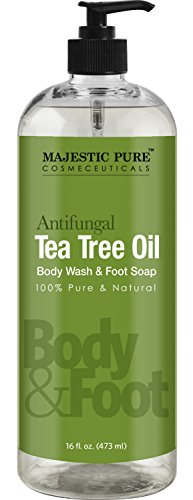 Majestic Pure Antifungal Tea Tree Oil Soap Naturally Scented Foot Body Wash 16 fl oz - Helps with Nail Fungus Athlete Foot Ringworms Jock Itch Body Odor