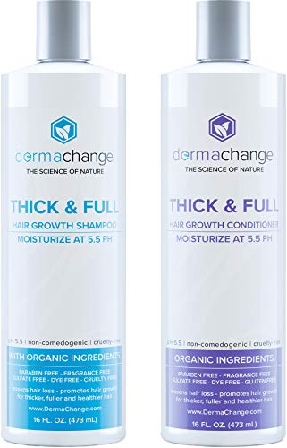 Natural Hair Growth Shampoo and Conditioner Set - Sulfate Free Vegan Thicker Hair Regrowth with Vitamins - Hair Loss Thinning Products - Curly or Color Treated Hair - For Men and Women - 16oz