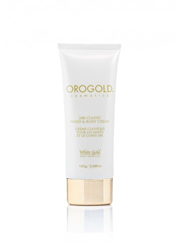 OROGOLD White Gold 24K Classic Hand Body Cream - Contains Organic Chamomile Oil Organic Argan Oil Palm Oil Aloe Vera Vitamin E Botanical Extracts and Gold - Best Hand Cream for Dry Hands