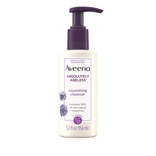 Aveeno Absolutely Ageless Nourishing Daily Facial Cleanser with Antioxidant-Rich Blackberry Extract Non-Comedogenic Face Wash from Dermatologist-Recommended Brand 52 fl oz