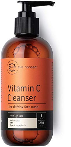 Eve Hansen Vitamin C Face Wash  HUGE 8 oz Anti-Aging Skin Cleanser for Dark Circles Age Spots and Fine Lines  Blackhead Remover Hyperpigmentation Treatment Pore Minimizer Gel Face Cleanser