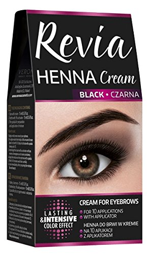 Revia Henna Cream Black Brown Eyebrow and Lashes 10 Applications Kit Tint Black