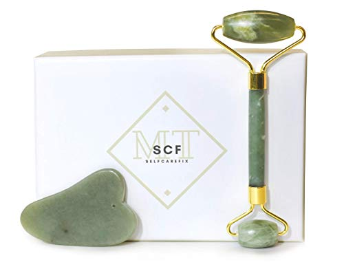Jade Facial Roller and Gua Sha Set - Anti Aging Skin Care Kit for Face Eyes Neck Back and Body - Natural Jade Stone Rollers - Anti Wrinkle Massager - Youthful Skin Spa Products - Lift and Firm