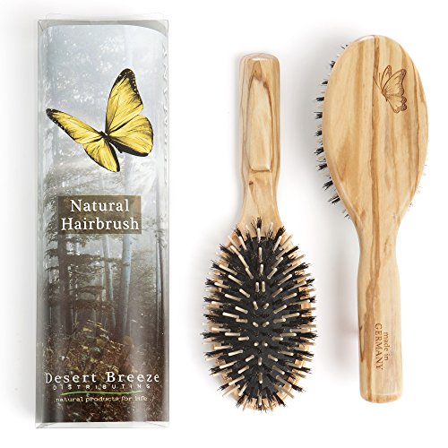 Boar Bristle Wood Pin Combination Hair Brush with Olive Wood Handle Best for Thick Hair Model OWB Rounded Wood Pins Stiff Boar Bristle Handmade Premium Hairbrush Made in Germany
