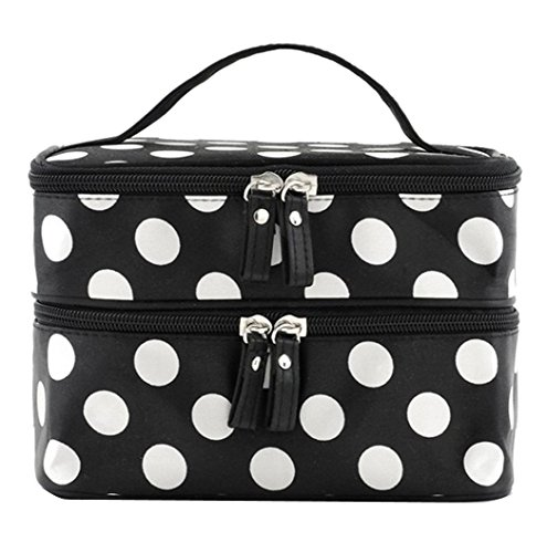Duafire Cosmetic Bag Double Layer Dot Pattern Travel