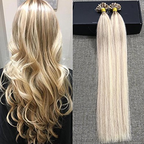 Full Shine 16 1g per Strand 50gram Ash Blonde Highlighted Ombre U Tip Hair Extensions Straight Pre Bonded Nail Keratin U Tip Fusion Hair Remy Human Hair Extensions