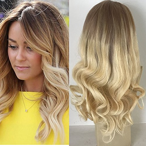 Full Shine 16 inch Blonde Ombre Lace Front Human Hair Wig Ombre Remy Human Hair Wigs for White Women Front Lace Wig With Combs Dark Roots 6 Fading to 613 Blonde Remy Wig Balayage