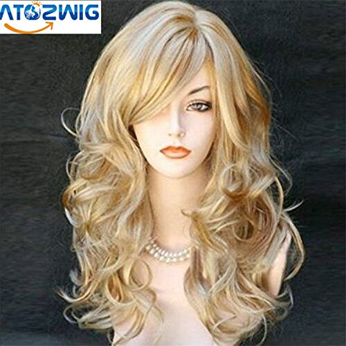 ATOZWIGCosplay Wig Party Women Fashion Long Wavy Curly Costume Synthetic Hair Sexy Blonde Wigs Female Peruca Pelucas