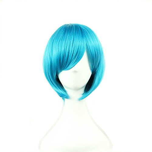 TLT 28cm 11inch Upgrade VersionShort Straight Sexy Stylish Cosplay Party Hair Wigs Blue BU029