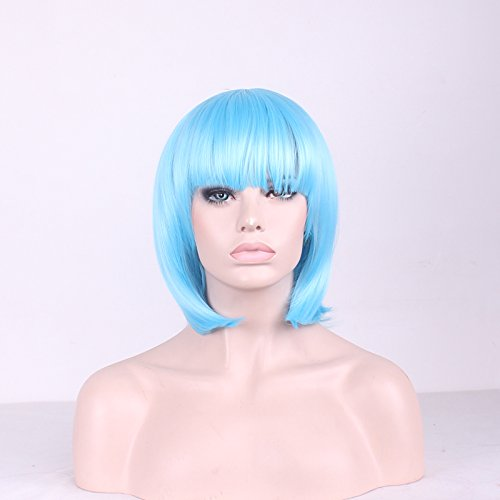 TLT Synthetic Straight Short Hair Bob Natural Wigs 115 with Flat Bangs COSPLAY Wig for Women Natural As Real Hair Light BlueBU027BL