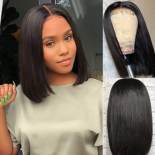 GRACE PLUS Short Bob Wigs Brazilian Remy Hair Straight 13x4 Lace Front Human Hair Bob Wigs for Women 150 Density Pre Plucked with Baby Hair Natural Color 8 inch bob wig