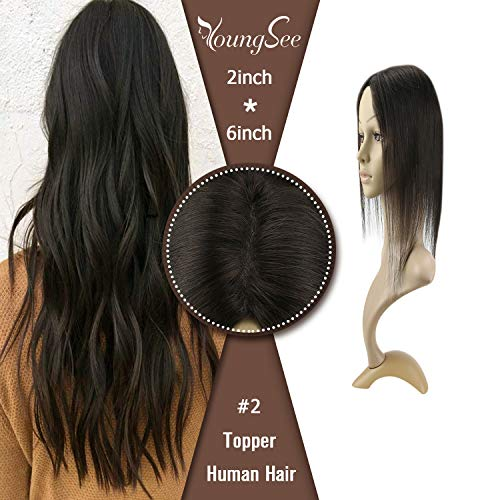 YoungSee 16inch Crown Topper Hair Extensions Remy Human Hair 2 Darkest Brown Clip inon Topper Hairpieces Toupee For Thinning Hair 2x6inch