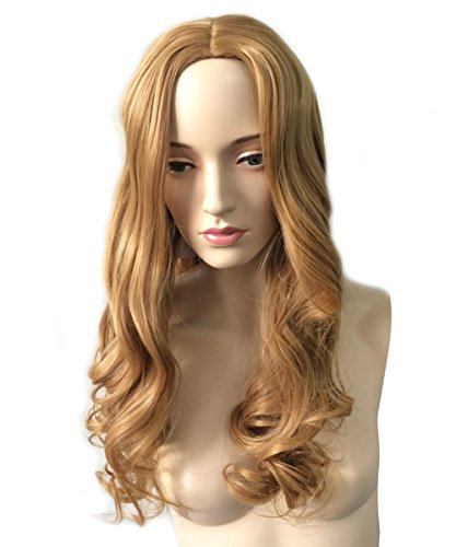 Namecute Brown Wigs Natural Wavy Long Heat Resistant Synthetic Fibre Wigs Middle Part no Bangs for Women Hair Replacement Wigs  Free Wig Cap