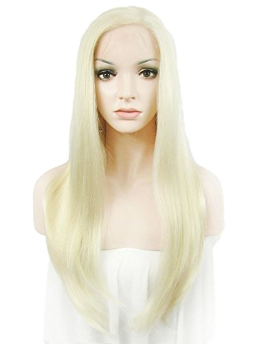 Rechoo 24 Solid Color Fashion Straight Synthetic Lace Front Hair Wig for GirlLadyWoman