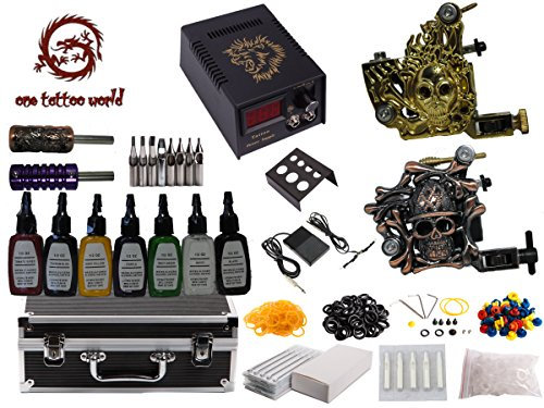 1TattooWorld Premium Tattoo Kit 2 Handmade Machine Gun Digital Power Supply Needles 7 color 12 oz Inks OTW-KK02