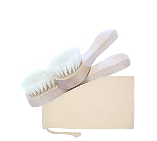 Set of 2 Dry Skin Face Brushes with Cotton Storage Bag Premium Brush with Natural Bristles