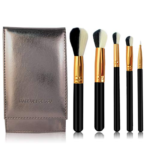 CEFULTY Makeup Brush Set Tools Make-up Toiletry Kit Fiber Cosmetic Brush with Packaging 5 in 1 Size  5-Piece