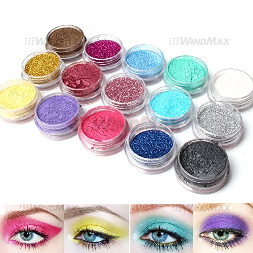 15 Warm Color Glitter Shimmer Pearl Loose Eyeshadow Pigments Mineral Eye Shadow Dust Powder Makeup Party Cosmetic Set C