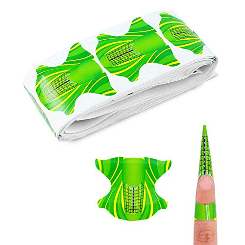 Aysekone 100 Pieces Green Square Nail Form Pro Nail Art Guide Form Acrylic Tips UV Gel Extension Stickers Guide Stencil Manicure Tools for Nail Polish Guide