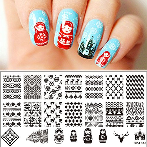 Born Pretty Nail Art Stamping Plates Stamp Template Image Plate Russian Doll Sweater Pattern BP-L018