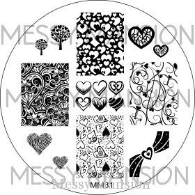MESSY MANSION MM31 Nail Art Stamping Plate - Valentines Day