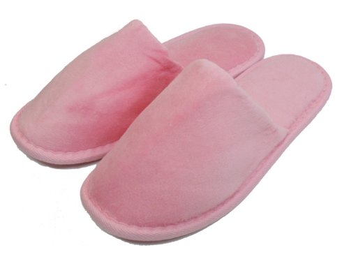 Terry Velour Closed Toe Slippers Cloth Spa Hotel Unisex Slippers for Women and Men Pink
