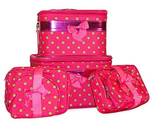 J Garden 6-Piece Polka Dot Cosmetic Case Set Small Dots Pink and Green