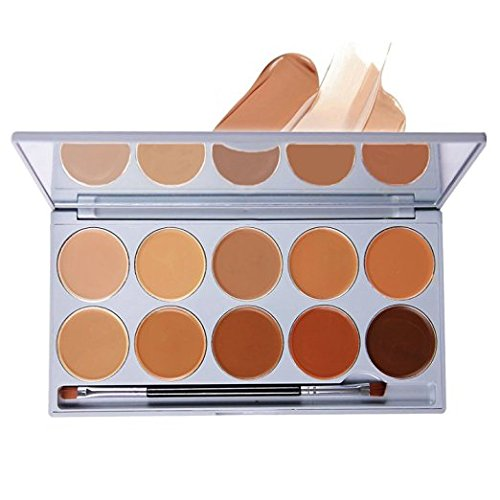 DELANCI 10 Colors Cream Concealer Contour Palette Pro Face Concealer Highlighting Contouring Kit Complete Coverage Camouflage Concealer Cosmetics Set with Mirror Make Up Brush Tool