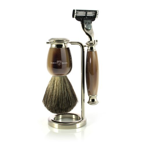 Edwin Jagger Simulated Horn and Nickel Shaving Set BrownCream