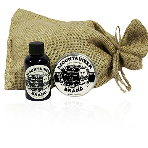 Pre-Shave Oil Post -Shave Balm Combo by Mountaineer Brand Eucalyptus Scent--Soften before and Soothe after shaving