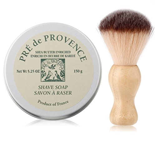 Pre De Provence Natural Mens Shaving Soap with Shea Butter in a Tin 525 Ounce and a Kens Professional Barber Shaving Brush