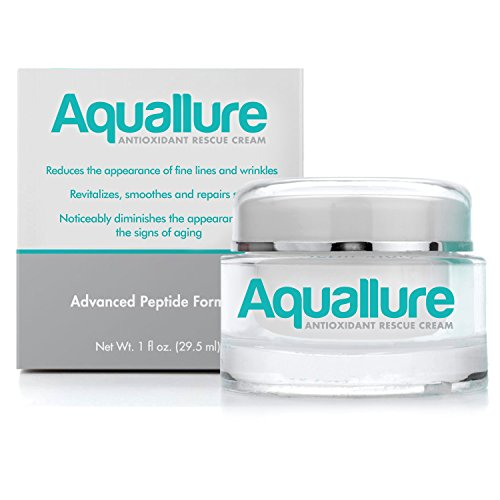 Aquallure Antioxidant Facial Moisturizer Cream - with Hyaluronic Acid and Peptides  A Powerful Anti Aging Anti Wrinkle Formula for Deep Hydration  To Reduce Wrinkles - Smooth Fine Lines - Tighten Skin  Gluten Free Dermatologist Tested 1 oz