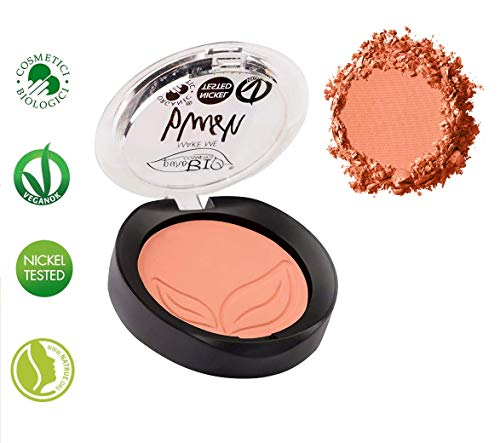 PuroBIO Certified Organic Highly Pigmented Matte Blush Color 02 Coral Pink Made with Argan Oil Cocoa Extract Apricot Powder Shea Butter Avocado Oil VEGAN NICKEL TESTED MADE IN ITALY