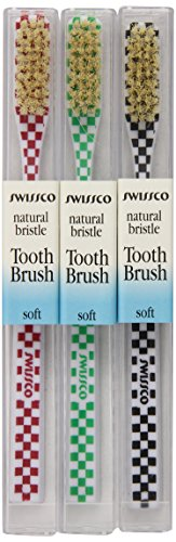 Swissco Tooth Brush Checks Natural Bristle Soft 3-Count Pack